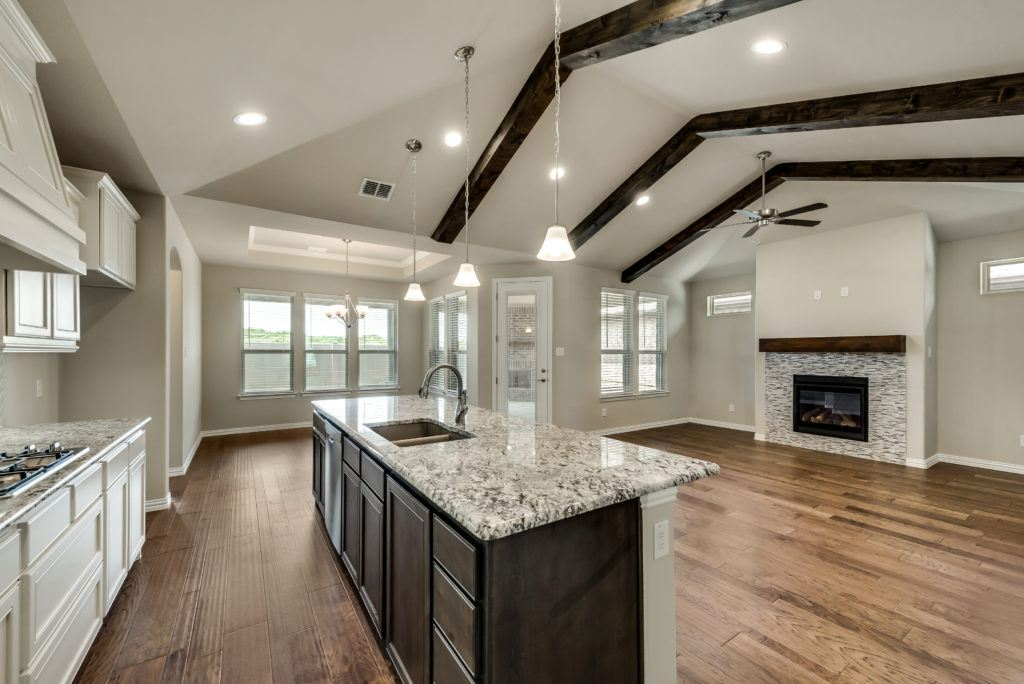 4010 viento kitchen, living room w/fireplace, dining view